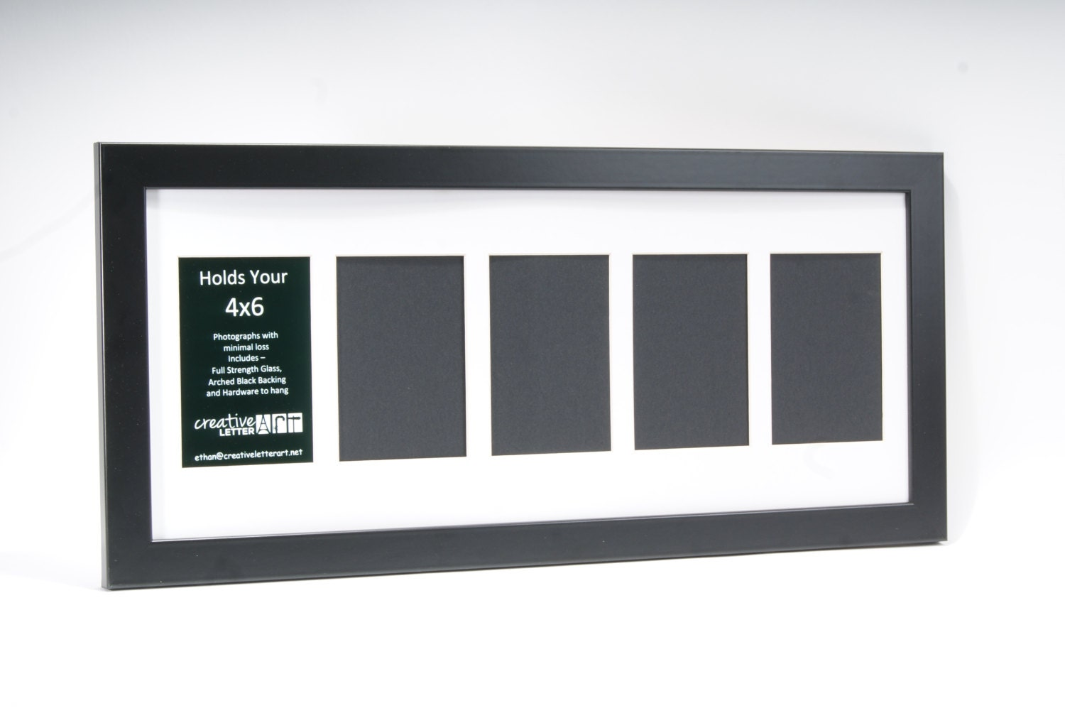 2 14 Opening Black Picture Frame With Multi Opening Mat To