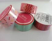 Washi Decorative Paper Tape Set of Four Zigzag Chevron, Stripes, Confetti Sprinkles, Solid