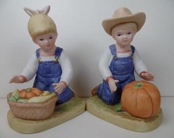 Vintage Homco Denim Days Harvest Helpers Figurines - Homco Denim Days Harvest Helpers Figurines - Denim Days Figurines - Homco Home Interior