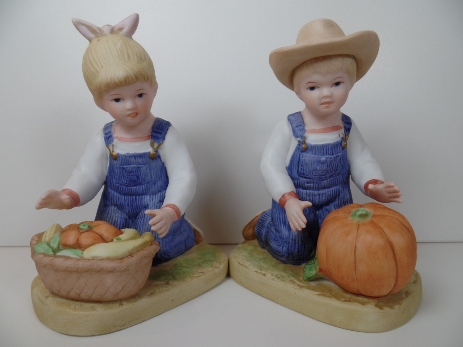 Vintage Homco Denim Days Harvest Helpers Figurines Homco