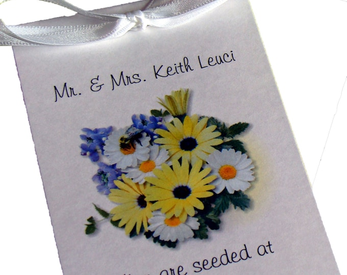 Wedding Reception Place Cards ~ Escort Cards ~ Double as Wedding Favors Seeded at Cards for your Wedding Guests ~ Yellow Daisy design