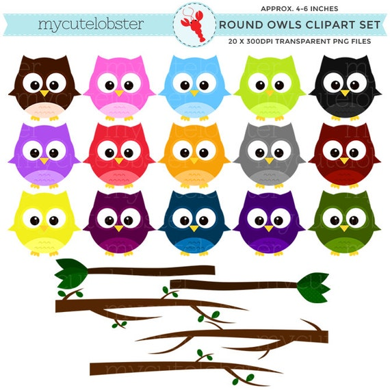 Owls Clipart Set - clip art set of round owls - personal use, small commercial use, instant download
