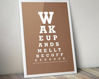 "Wall Decor Kitchen Art ""Wake Up And Smell The Coffee"" Eye Exam Chart Print"