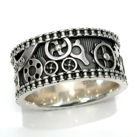 Mens Bike Chain Gear Ring - Steampunk Sterling Silver - Wedding Engagement Ring