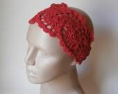 Crochet HeadBand - Bandana - Crochet HairBand - HeadBand - Hair Accessories - Crochet HairBand in Red