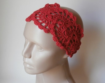 Crochet HeadBand - Bandana - Crochet HairBand - HeadBand - Hair Accessories - Crochet HairBand in Red