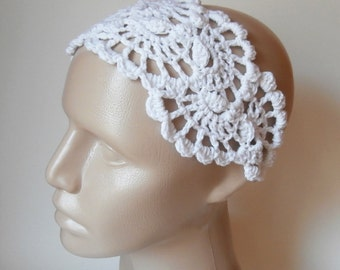 Crochet HairBand - HeadBand- Crochet Headband- Hair  Accessories - Crochet HairBand in White