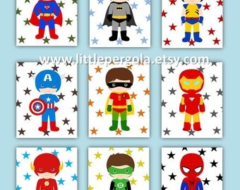 "Superhero Art Prints 8X10"" CHOOSE Five, set of (5) five prints, cute for a little superhero nursery, Boys Art"