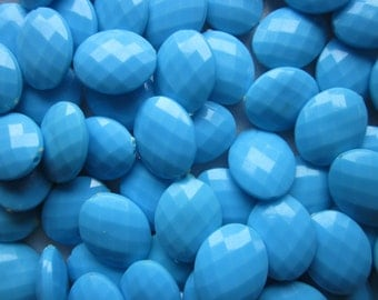 Blue Oval Faceted Acrylic Beads 20mm 20 Beads