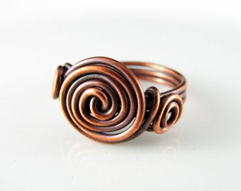 Wire Wrapped Ring Copper Ring Knot Ring Size 6.5 Wire Wrapped Jewelry Copper Wire Ring