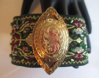 Cuff Bracelet Emerald Forest Green Brocade Gold Tone Vintage