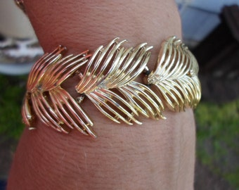 Vintage Gold Tone Feather Like Bracelet 1960s Metal Thick Chunky