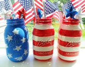 American Flag Hand Painted Mason Jars 4th of July Fireworks Patriotic Mason Jar Decor Holiday Decor Summer Celebration Stars and Stripes