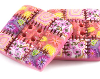 Polymer clay buttons large square patchwork quilt pink set of two