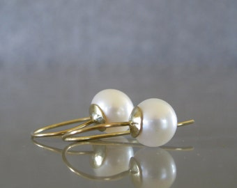 Solid 14k gold pearl earrings, Long pearl earrings, Pearl bridal earrings