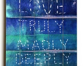 Wooden Art Sign Planked Love Truly Madly Deeply typography blue velvet wall art