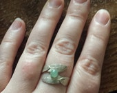 Sage Leaves Ring with Peridot