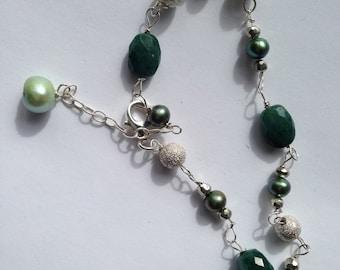 Emerald, Green Pearl, Light/Green , Silver Stardust, Silver Bracelet, Christmas Lights,
