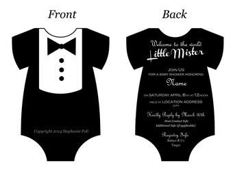 Dapper Tuxedo Baby Shower Invitation (Digital Printable)