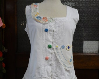 Wednesday Shirt,Sleeveless White Shirt,Bohemian Shirt,Shabby Chic Top,Upcycled Shirt,Romantic Top,by Nine Muses Of Crete.