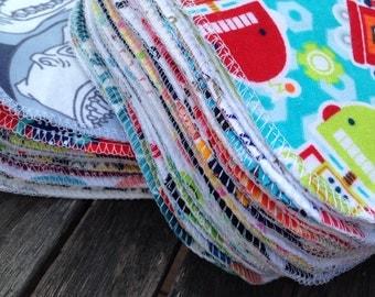 30 Mixed Boy Patterns Cloth Baby Wipes, Unpaper Napkins, Family Cloth