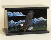 Hand Etched Cremation Urn Black Granite With Eagle