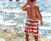 "Beach Boy Watching Big Brothers & Sisters Swim in Lake, Ocean, Children Watercolor Painting Print, Wall Art, Home Decor, ""Wishful Watcher"""