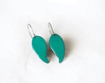 Enamel leaf earring : teal