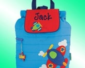 Quilted Backpack - Personalized and Embroidered - AIRPLANE