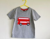 Red Bus applique t shirt 2-3 years