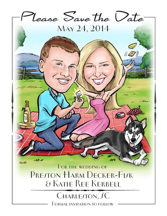 When Should Save The Dates Be Sent: Fun And Cute Custom Caricature Save The Date. Send In Your