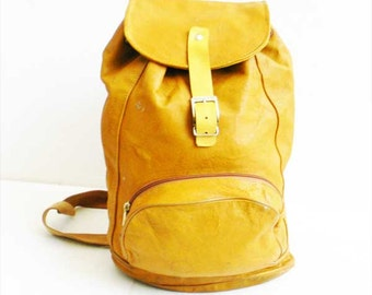 Vintage Leather Backpack Distressed Rugged