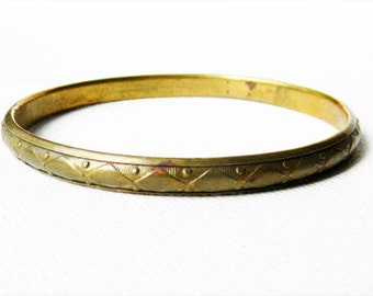 Thin Vintage Etched Brass Bangle Bracelet