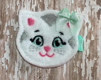 White Gray Mint Green Kitty Katerina White Cat Felt Hair Clip Clippie Babies, Toddlers, Girls