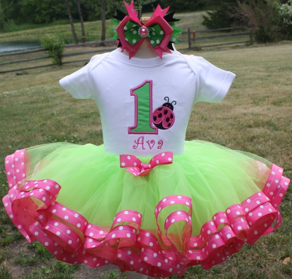 Girls First Birthday Ladybug Tutu Set Lime By