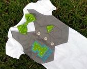 1st Birthday Baby Boy shirt - Green Turquoise and Gray Custom Tuxedo Body suit - Cake Smash outfit - Any Birthday!