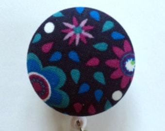 Blue Badge Reel - Name Badge - Navy ID Name Holder - Retractable Badge - Nurse Gift - Teacher Gift - Fabric Badge Reel