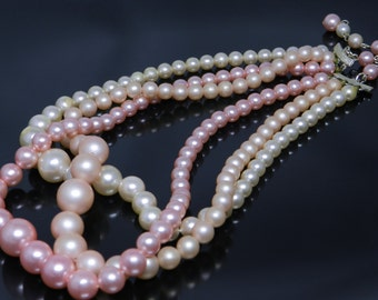 Vintage Triple Strand of Pink Simulated Pearls Necklace Signed Japan