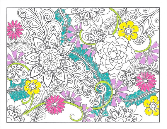 Printable Coloring Page Zentangle Inspired Flower Jungle Zendoodle Doodle PDF Instant Download Kids Flowers And Vines