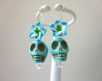 Sugar Skull Earrings Blue White Green Flower