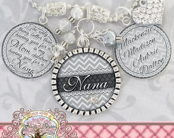 CHEVRON Personalized Nana Triple Pendant Necklace (or Keychain), GREY, Children's Names, Mother's Day Gift, Inspirational Quote
