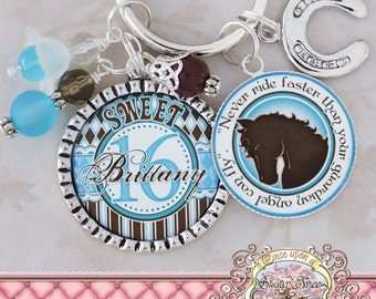 SWEET 16 Gift, Personalized Name HORSE THEME Key Chain, Quote, New Driver, Horseshoe charm, Sweet 16, Birthday Gift, Get Well, Heart Charm