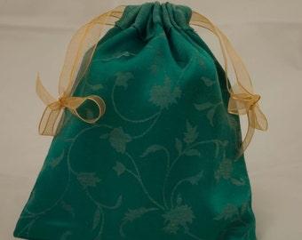 Green brocade tarot bag