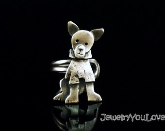 Sterling Silver Chihuahua Ring - Chilli
