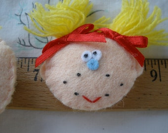 """3D Felt Appliques Freckle Face & Red Bow Pigtails 6 each embellishment 3D Craft Accent scrapbooking 1.75"""" puffy sweet party favor tag supply"""
