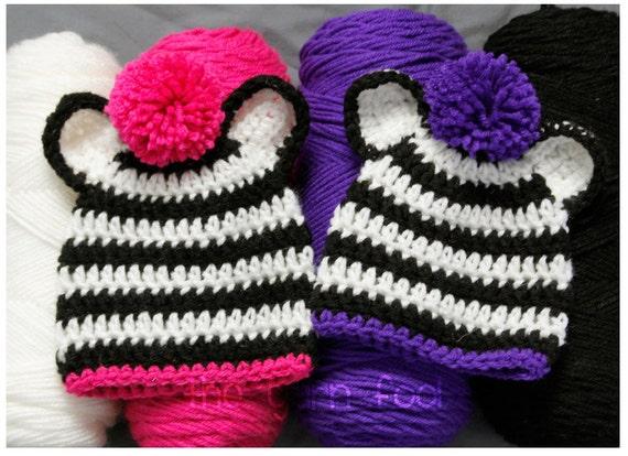 Crochet Zebra Hat with Pom Pom Newborn, Infant, Toddler, Youth, and Adult Sizes