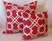 Cranberry Geometric Pillow Cover - Two Remaining