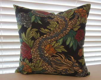 Ming Dragon Pillow Cover in Dwell Studio Admiral Fabric