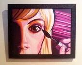 """Pretty Woman """"Pretty Preparation"""" Acrylic Framed Painting- 15.5""""W x 12.5""""H"""