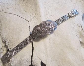 Vintage Sterling Silver Cuff Bracelet Heavy Sterling Silver  Bracelet Flower Unique Weave Design